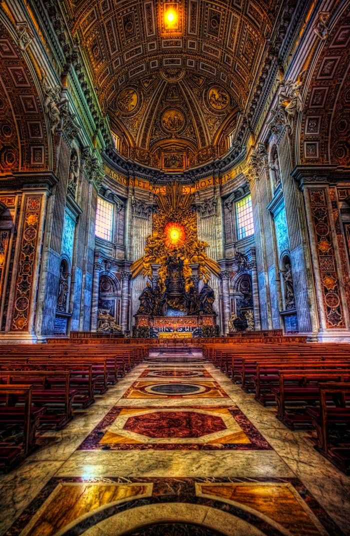 Inside St Peter's Basilica ~ Rome, Italy. The largest cathedral in the world.