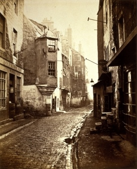 Cardinal Beaton's House in foreground at the northeast corner of Cowgate and Blackfriars St. 1868
