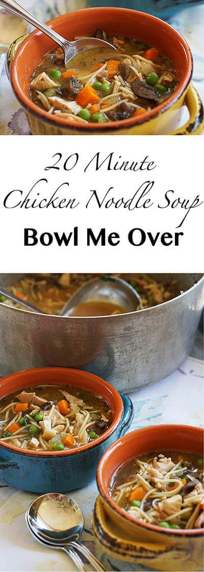 Chicken Noodle Soup - everyone's favorite soup! It takes only 20 minutes to make and has a ton of flavor - serves six, enjoy!