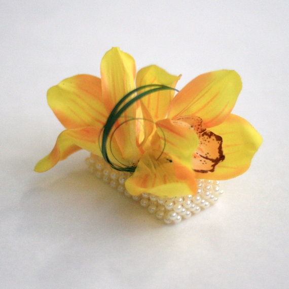 Cymbidium Orchid Wrist Corsages: Yellow Orchid Wrist Corsage . Realistic Cymbidium Orchids