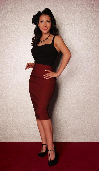 Red Pencil Skirt in Burgundy;