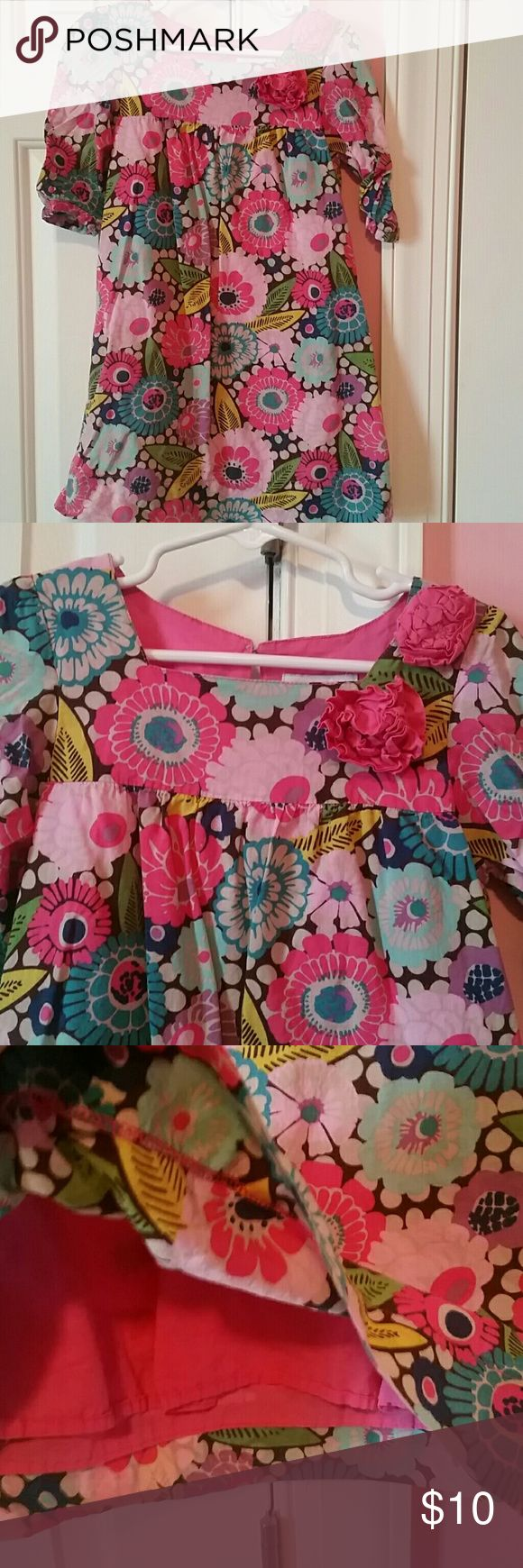 """Genuine kids lined floral dress Floral dress with 3/4"""" sleeves and flower accents genuine kids Dresses Casual"""