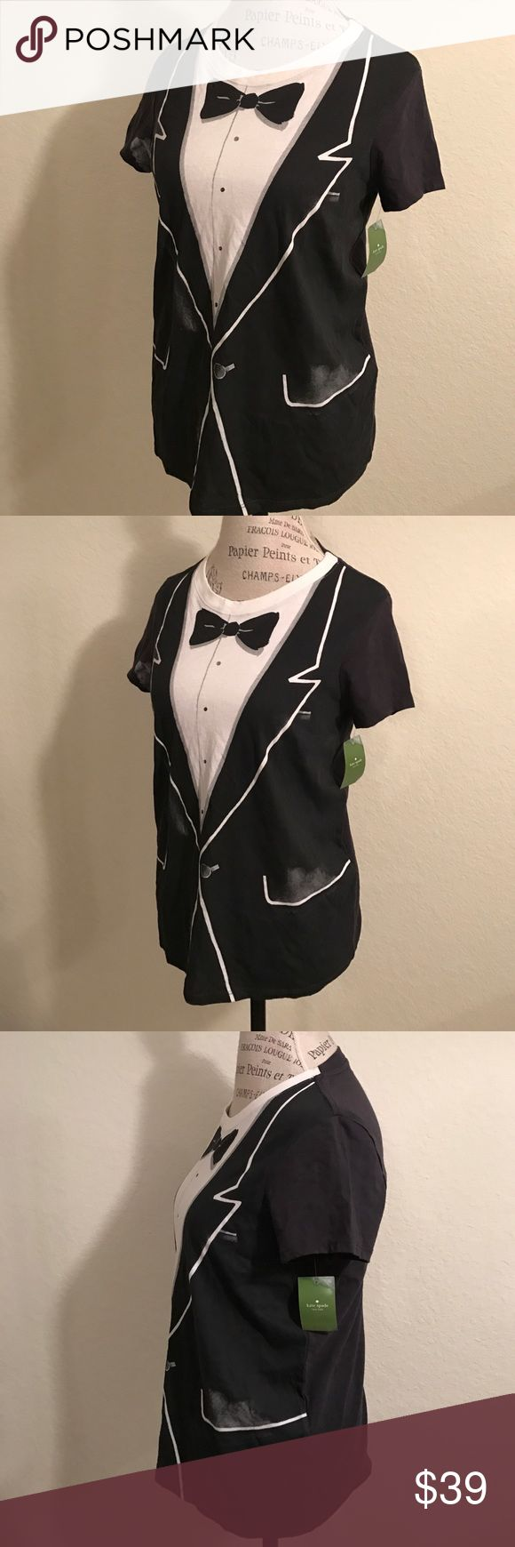 Kate Spade Stylish Tuxedo Top Shirt Tee T-shirt Brand new with tag! Kate Spade Tuxedo Graphic T-Shirt. Style # NJMU2882. Day Disco Black Multi (028). Size Medium. Tag is stained and bent from storage. kate spade Tops Tees - Short Sleeve