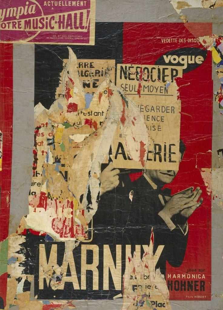Hains, Raymond: ohne Titel, 1958/59. Leinwand, Papier, 134 x 97 cm.
