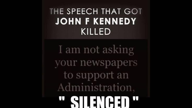 """JOHN F KENNEDY -  SPEECH   Published on Aug 3, 2016(151 days ago)  """"It requires a change in outlook, a change in tactics, a change in missions--by the government, by the people, by every businessman or labor leader, and by every newspaper. For we are opposed around the world by a monolithic and ruthless conspiracy that relies primarily on covert means for expanding its sphere of influence--on infiltration instead of invasion, on subversion instead of elections, on intimidation instead of…"""