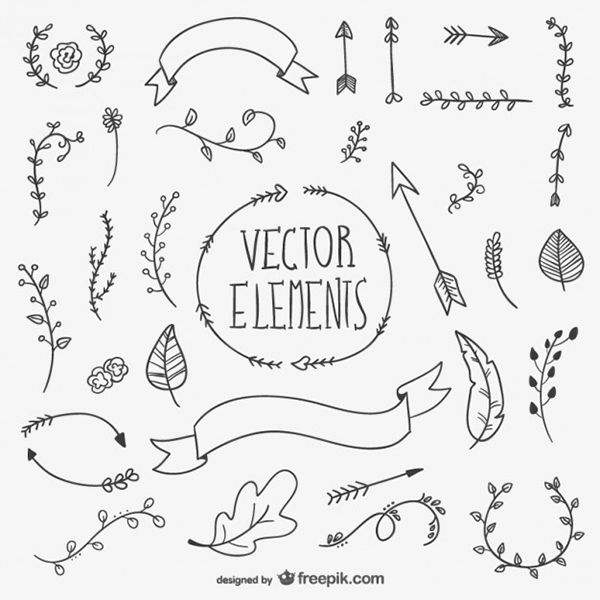 Vector elements: leaves, arroes and ribbons | #hand #drawn #freebie