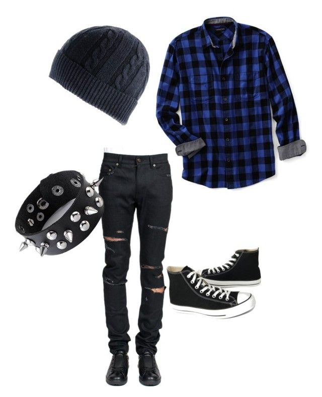 """""""emo boy"""" by olivmccoy ❤ liked on Polyvore featuring Lands' End, Yves Saint Laurent, Converse, Black, men's fashion, menswear, plaid and WardrobeStaples"""