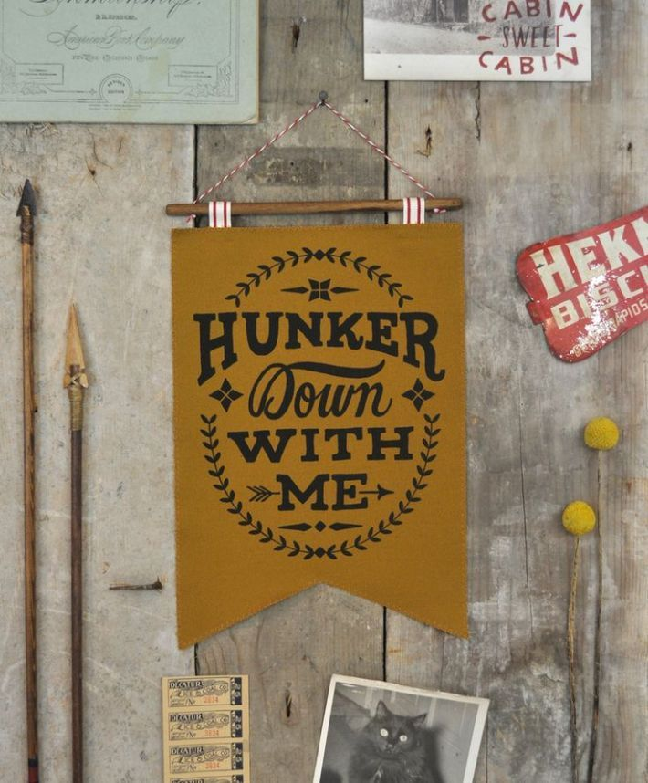 Love Quote  Winter Cabin Collection  Hunker Down With Me  Banner  Gold