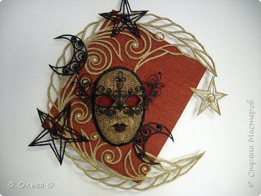 Картина панно рисунок Ассамбляж *Ночная звезда* Бусины Мешковина Шпагат фото 1