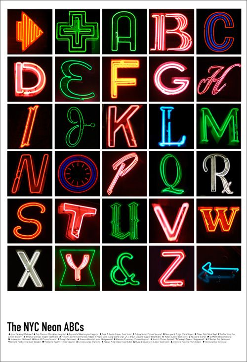 The NYC Neon ABCs by Kirsten Hively. Check out her Kickstarter project to create a digital guidebook of NYC's best neon signs:  http://www.kickstarter.com/projects/195673713/project-neon-a-digital-guidebook-to-new-yorks-neon