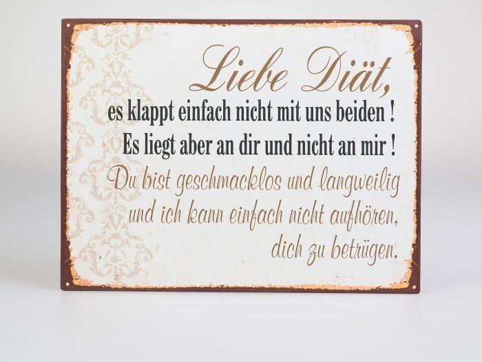 Deko Blechschild mit Spruch: Liebe Diät es klappt einfach nicht ...., 26 x 35 cm in Möbel & Wohnen, Dekoration, Schilder & Tafeln | eBay!