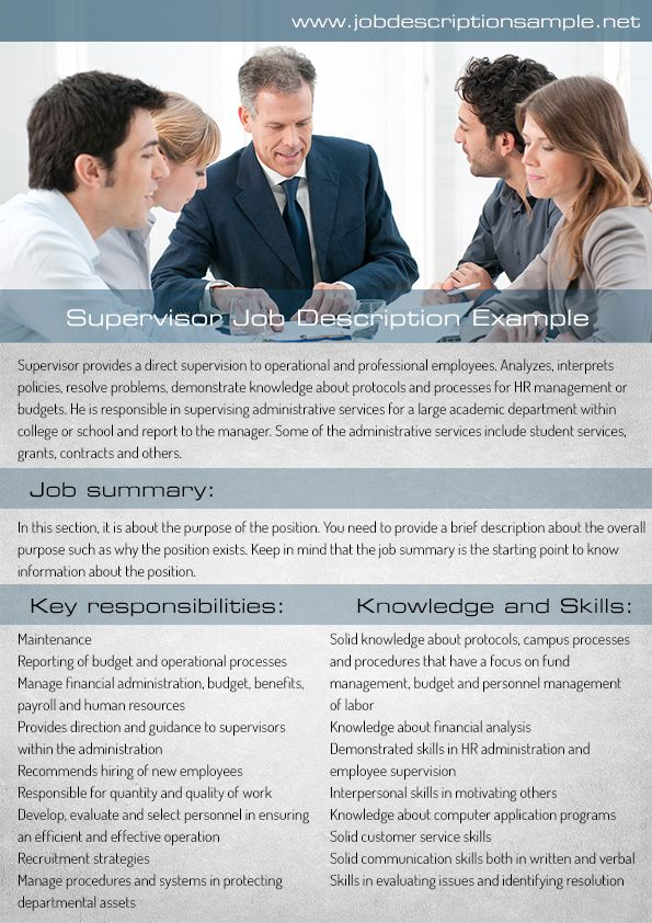 supervisor job description sample 10 best job description sample images