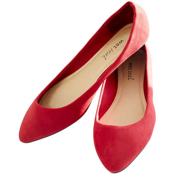 89d3dee2ea206 Pointed Faux Suede Skimmer Flats found on Polyvore featuring shoes, flats,  red, zapatos, red flats, pointy flats, red pointed t…