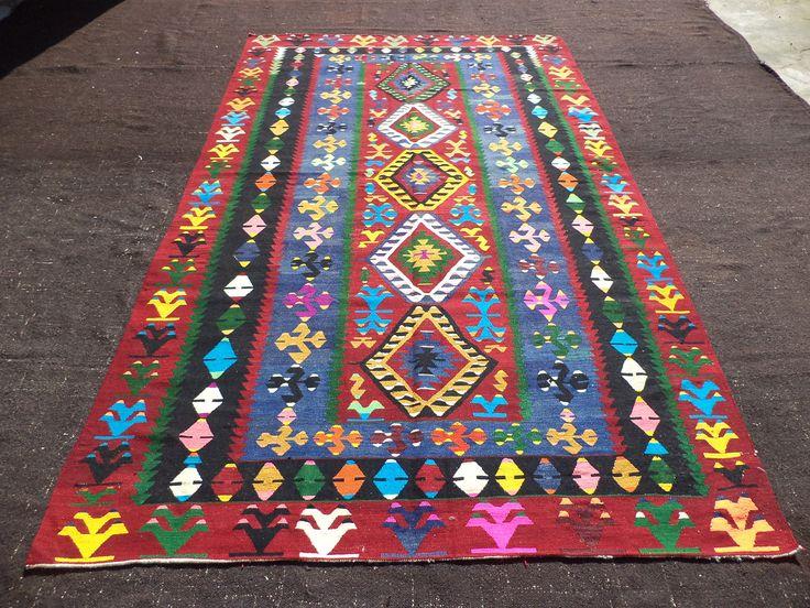 "Kilim Rug,6,3""x10,8"" Feet 190x324 Cm Colorful Vintage Home Floor Decor Turkish Kilim Rug,Large Area Kilim Rug,Anatolian Kilim Rug."