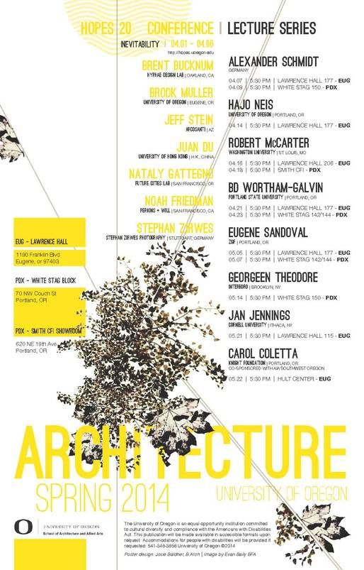 Get Lectured: University of Oregon, Spring '14 | Archinect
