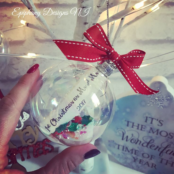 1st Christmas as Mr & Mrs glass Christmas bauble with personalised message By Epiphany Designs NI