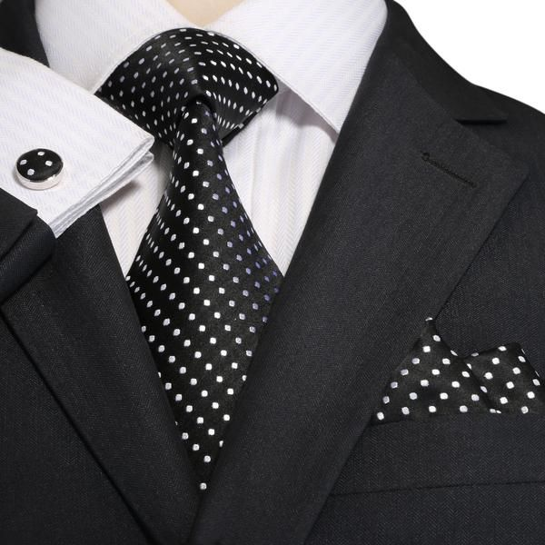 "3PC Silk Necktie Set Color: Black and White 59"" Length, 3.25"" Width"