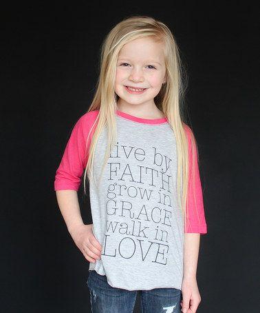 Loving this Gray & Heather Pink 'Live by Faith' Raglan Tee - Toddler & Girls on #zulily! #zulilyfinds