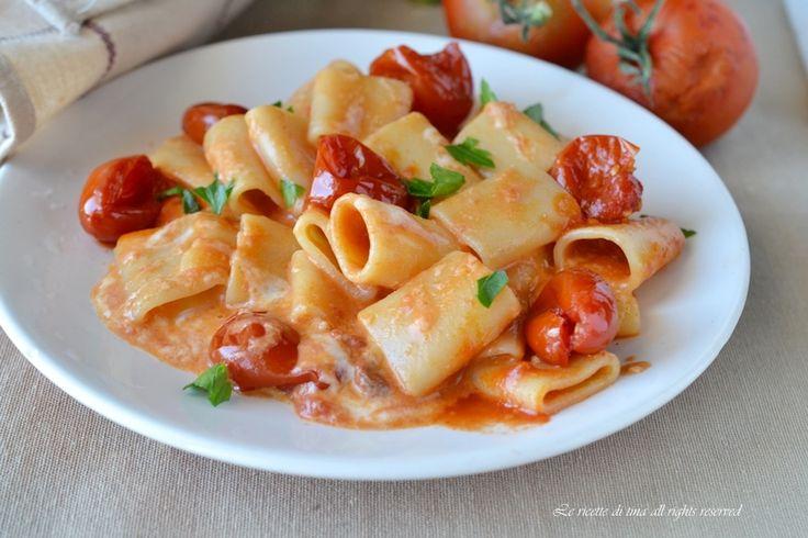 Pasta pomodorini e stracchino,un primo piatto cremoso,veloce e saporitissimo