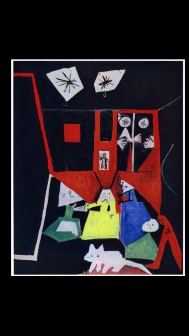 """Pablo Picasso -"""" Les Ménines - Vue d'ensemble (d'après Velázquez) """", Cannes19 IX 1957 - Huile sur toile - 161 x 129 cm - Museu Picasso, Barcelone (..)"""