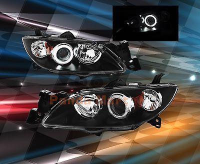 [CCFL HALO] FOR Year 2004-2008 Mazda 3 Sedan Headlights BLACK Head Lamps