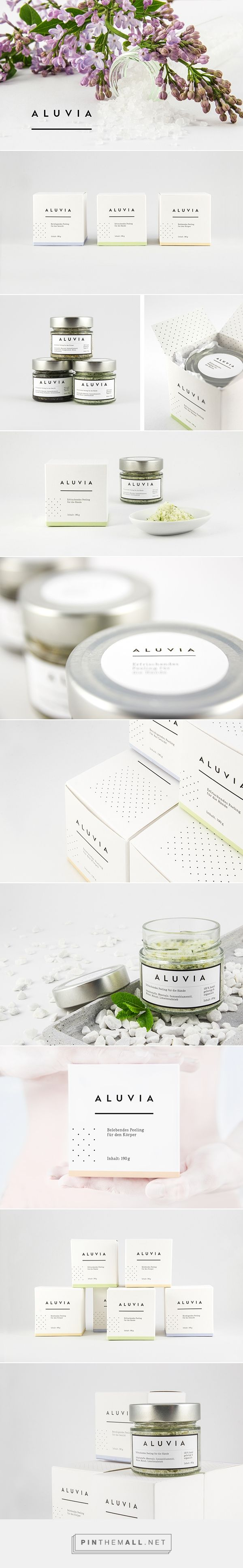 Aluvia is a purely fictional concept for high-quality, hand-crafted, natural exfoliants for the body. The design process was structured to naming and designing a logo lettering on the one hand the naming and the product and its packaging on the other hand. The exfoliants are all made of a sea salt base and were treated with exclusively natural ingredients.