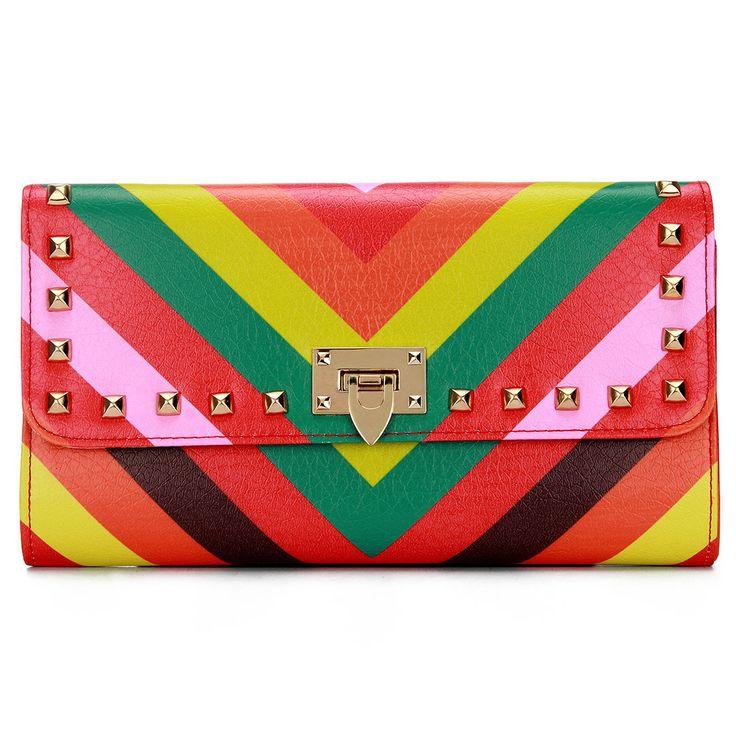 negrita raya tachonado de Foldover Cuero-mirada del bolso de embrague - US$23.95 -YOINS