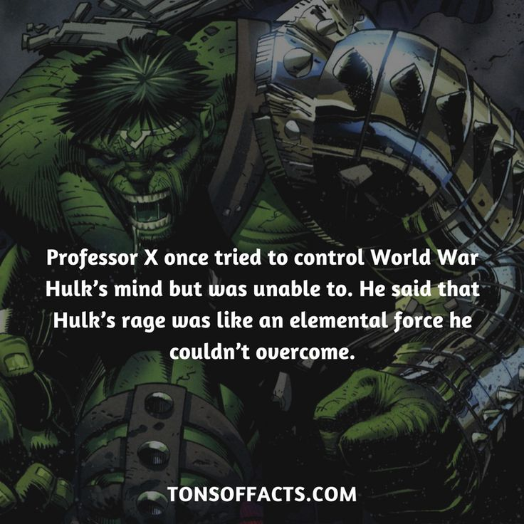 Professor X once tried to control World War Hulk's mind but was unable to. He said that Hulk's rage was like an elemental force he couldn't overcome. #professorx #xmen #marvel #movies #hulk #comics #superheroes #1 #memes #interesting #facts