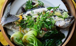 Nigel Slater's recipes are always do-able. This one's for steamed sea-bream with pak choi.
