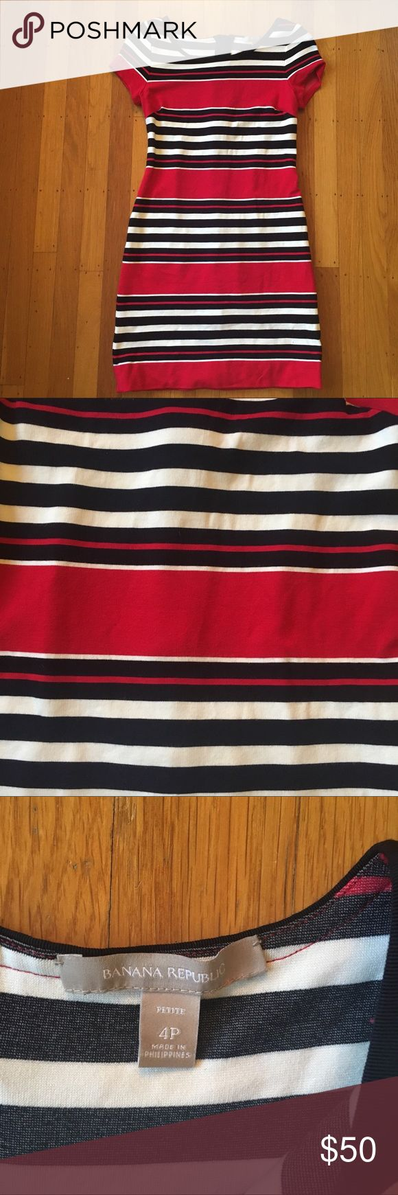 BR stripe ponte dress Cranberry reddish pink, navy blue and white striped soft knit ponte dress with short sleeves and exposed back zipper. Excellent used condition. Size 4 petite which also fits like 2 regular mini dress. Banana Republic Dresses