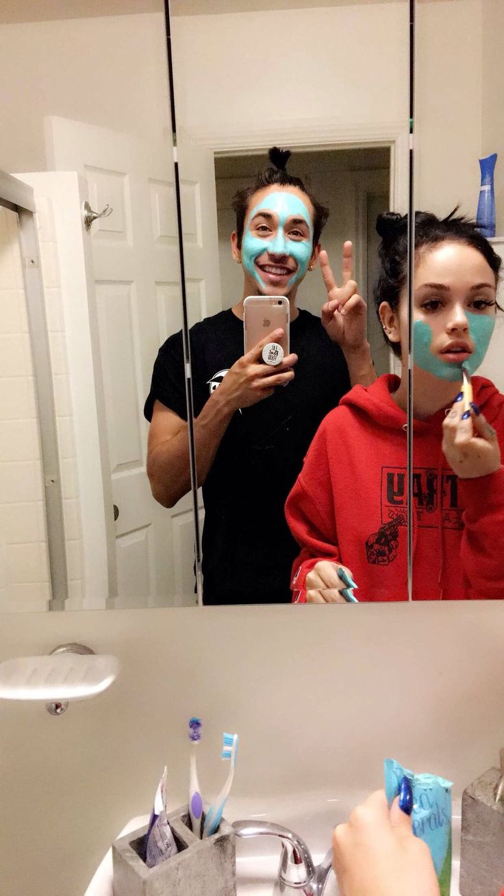 """Laura:: """"This is what happens when you find face masks in your house, and your boyfriend Andy's Pins is with you ❣️"""" I post to Instagram."""