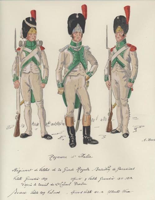Ufficiale e granatieri delle Velites del regno d'Italia