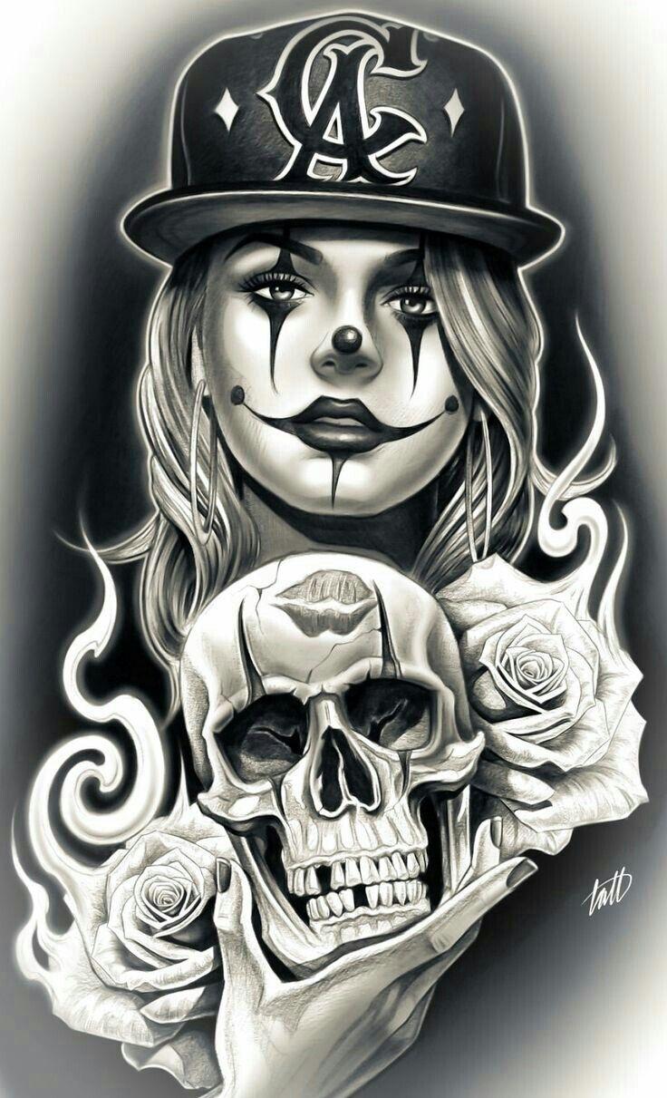 Desenho Palhaço Tatuagem nice drawing. | tatuagens chicanas, desenhos chicano