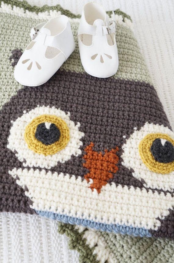 Graphghan gehaakt patroon uil deken bos kwekerij door LittleDoolally