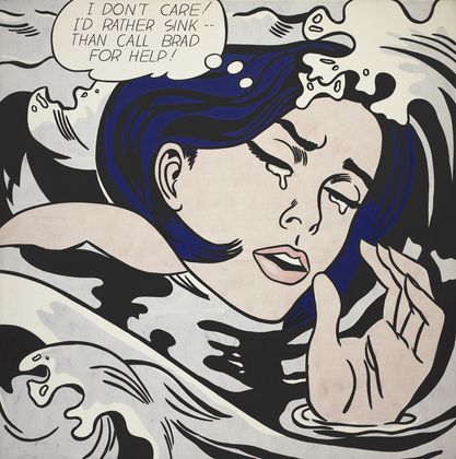 Roy Lichtenstein- Drowning Girl, 1963; oil and synthetic polymer on canvas