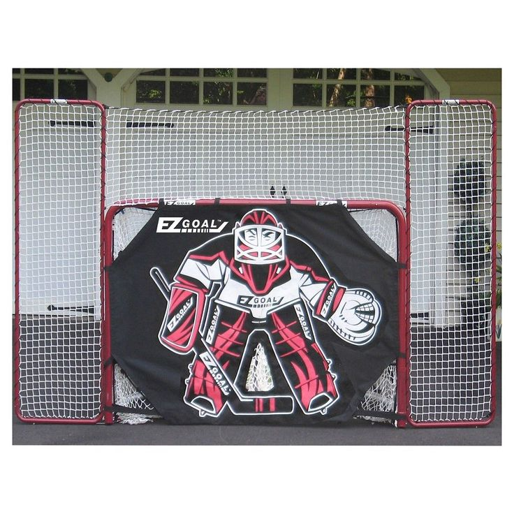 EZ Goal Folding Metal Hockey Goal with Backstop-Targets & Shooter Tutor - 6 Ft. x 4 Ft., Red