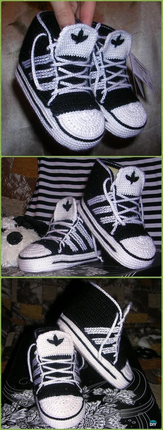 Crochet High Top Adidas Baby Sneakers Free Pattern - Crochet Sneaker Slippers Free Patterns