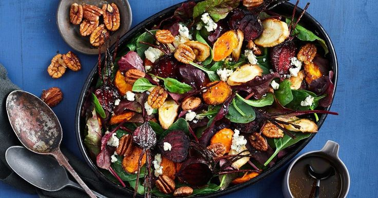 A robust winter vegetable salad served with a sticky maple and orange dressing.