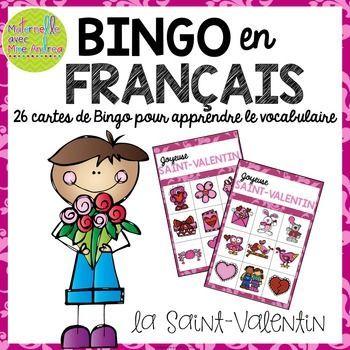 Bingo pour la Saint-Valentin en français (FRENCH Valentine's Day Bingo)