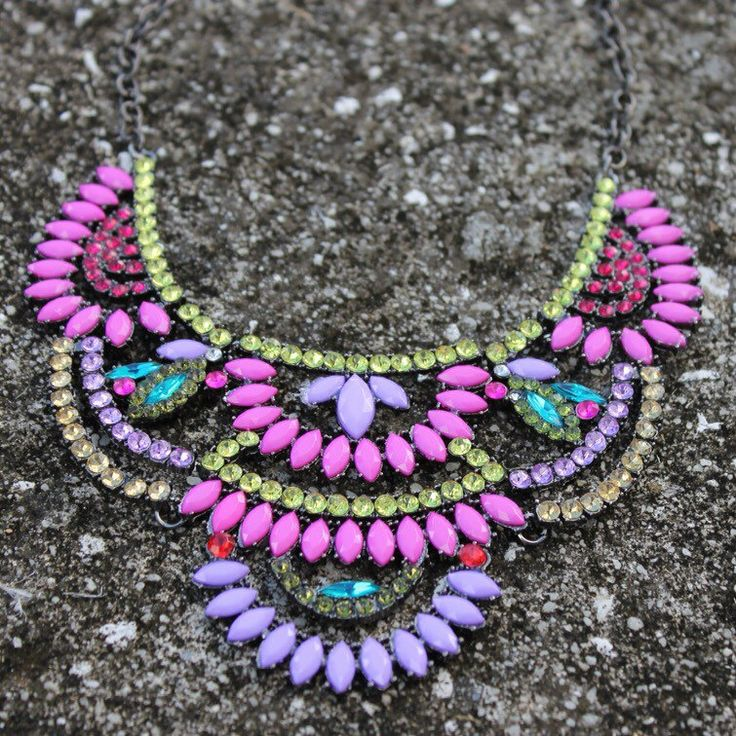 A personal favorite from my Etsy shop https://www.etsy.com/listing/254757113/colorful-statement-necklace-bright