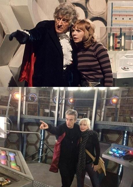Katy Manning (AKA Jo Grant of UNIT) drops by the TARDIS to see how the new Christmas Special is coming along.