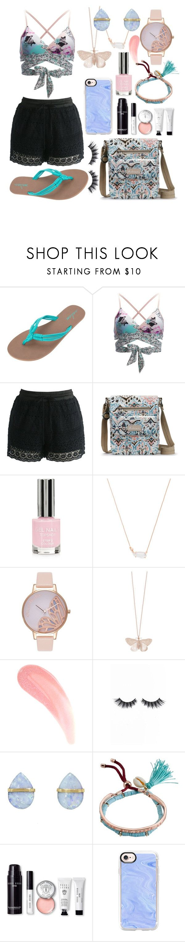 """""""Pastel Afternoon"""" by thegreendino ❤ liked on Polyvore featuring Volcom, Seafolly, Chicwish, Sakroots, Topshop, Kendra Scott, Olivia Burton, Alex Monroe, Violet Voss and Melissa Joy Manning"""