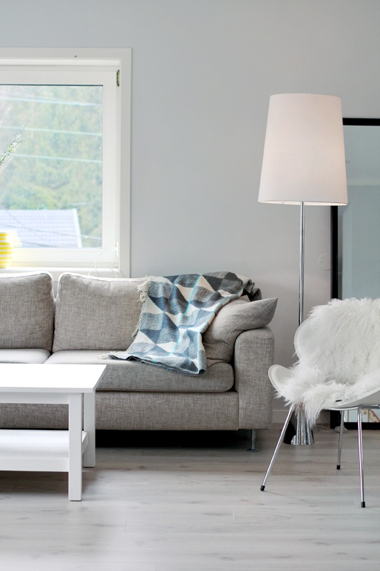 Gray Couch White Table