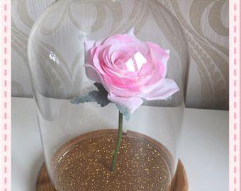 Belle tarro rosa bella y la bestia mágica rosa campana con o sin luces vidrio Belle Rose. Todos los colores disponibles. Rose oro rosa