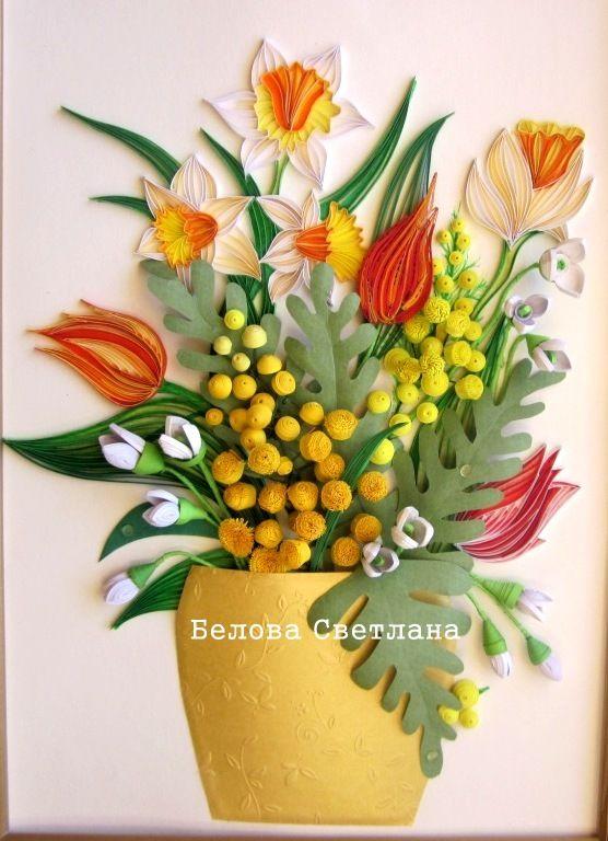 Квиллинг открытки с тюльпанами и мимозой