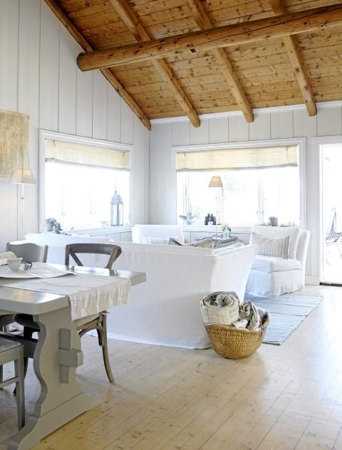 Love the white cottage living room for the cabin