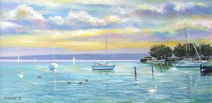 Marina at Lake Balaton.   Oil - Wood fiber board.   30 x 60 cm.