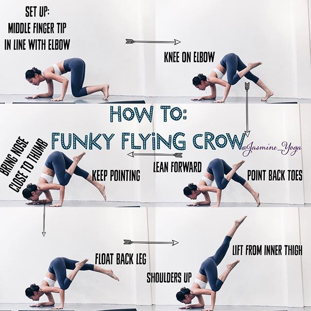 #JasmineYogaTutorial: #FunkyCrow #FlyingCrow So, this is a good starting point for those of you trying to figure out the flying crow. With the funky set up, is easier to find your balance and thus a higher chance of lifting your back foot. Tips: 1) Bring hand on floor to center so you form a triangle with your two hands and elbow. 2) ***Place your knee on elbow and not tricep. Almost like bone stacking, makes it soooo much easier to find balance. Almost effortless 3) *** Dont be afraid to…