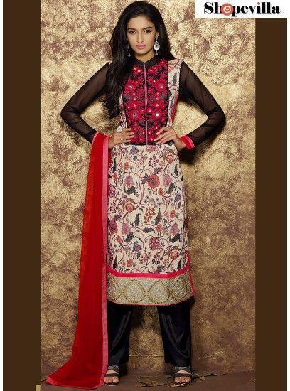 Multi Colour Cotton Designer Straight Salwar Kameez- HWH-1006