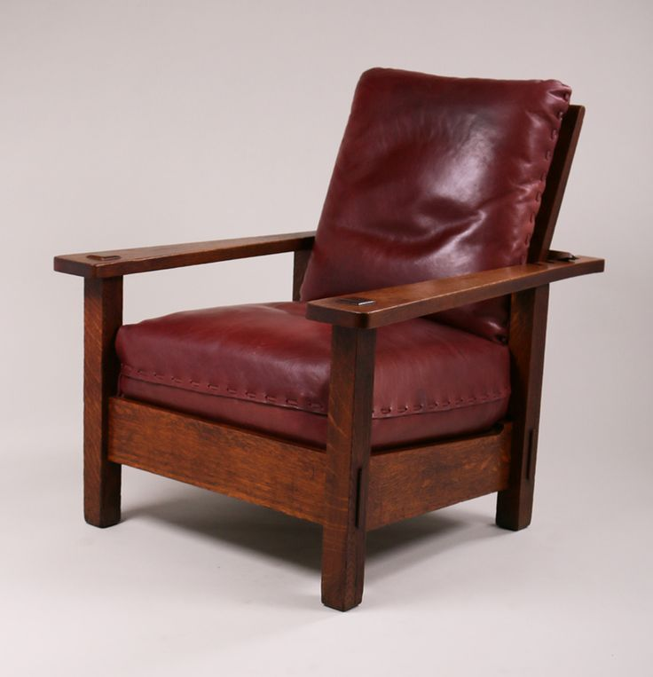 Stickley Brothers Large Morris Chair With Long, Tapered Arms. Unsigned.  Original Finish.